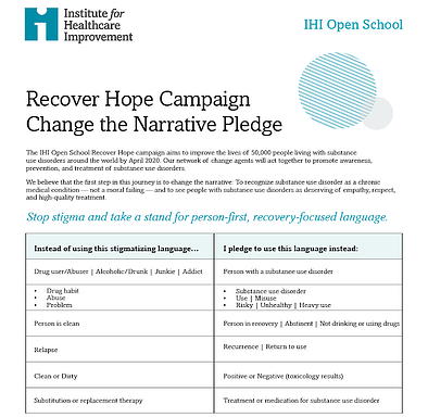 IHI Open School | Change The Narrative Pledge